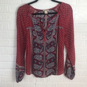 🌸JUST IN🌸Lucky Brand Red Printed Blouse